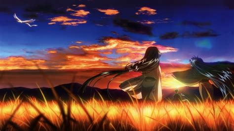 anime visual  red sky field wallpapers hd