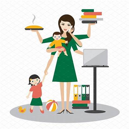 Woman Multitask Working Organised Mum Mother Child