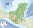 Map of the Maya region, with major rivers, mountain ranges ...