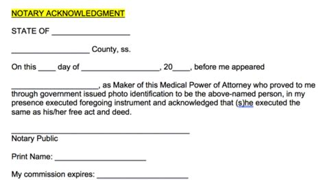 notary block free power of attorney forms living wills pdf word eforms free fillable forms