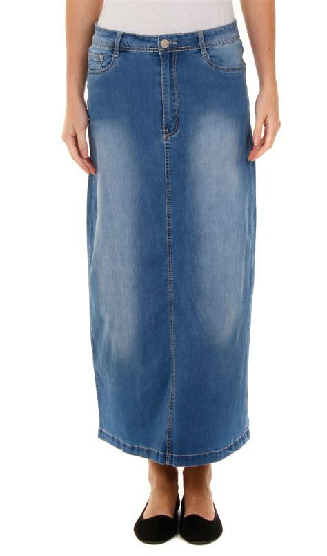 Womens-Long-Denim-Skirt-Stonewash-Blue-Stretch-Maxi-Skirt-96