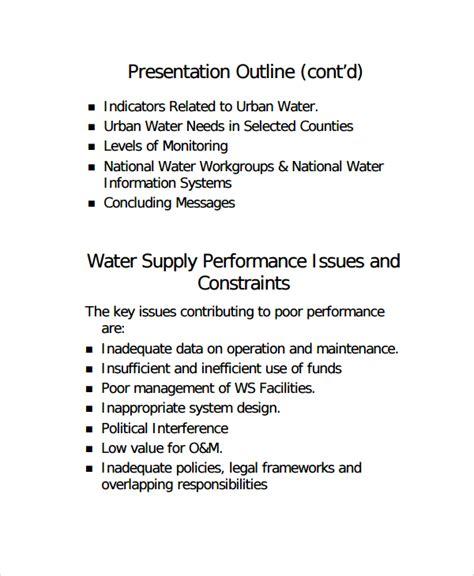 presentation outline template 7 presentation outline templates sle templates