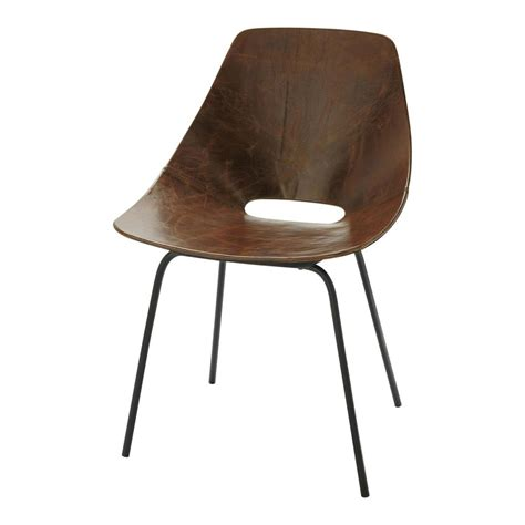 chaise metal maison du monde leather and metal guariche tonneau chair in brown