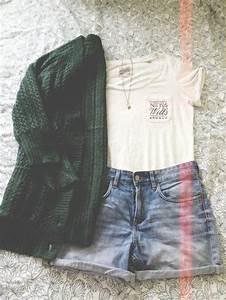 T-shirt outfit cardigan oversized cardigan green cardigan shorts high waisted shorts ...