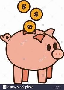 cartoon save money piggy coins bank vector illustration ...