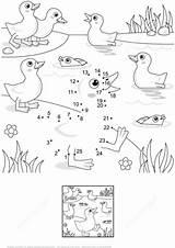 Fish Pond Coloring Dot Printable Ducklings Supercoloring sketch template