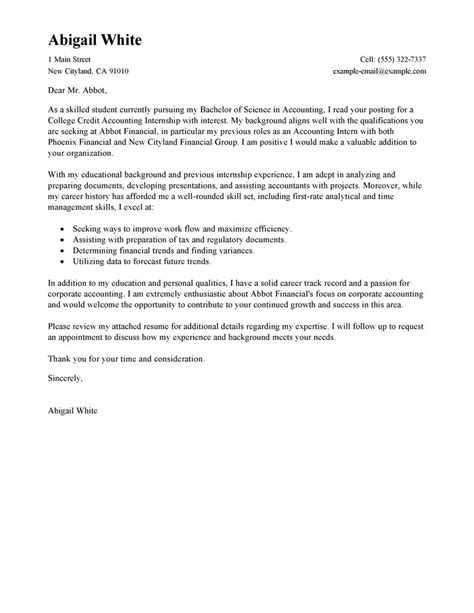 College Resume Cover Letter Exles by Leading Professional Internship College Credits