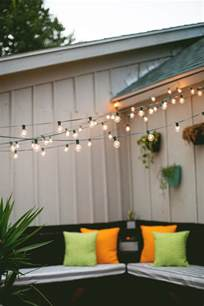 decor tips hanging string lights in an outdoor space make