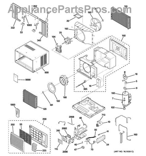 parts for ge agl14abg1 room air conditioner parts appliancepartspros