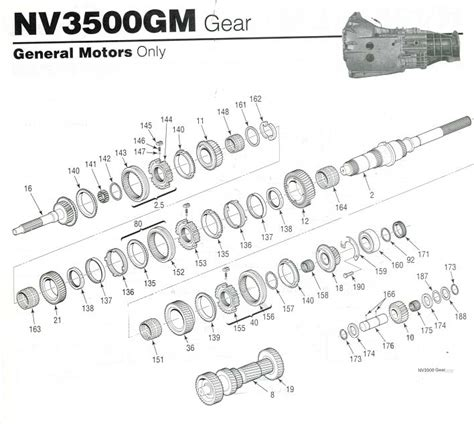Chevy Manual Nv3500 Transmission Diagram by Gm Parts Diagrams Exploded Views Nv3500