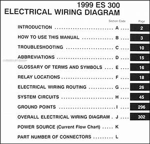 1999 Lexus Es 300 Wiring Diagram Manual Original