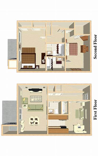 Bedroom Townhouse Floor Plans Apartments
