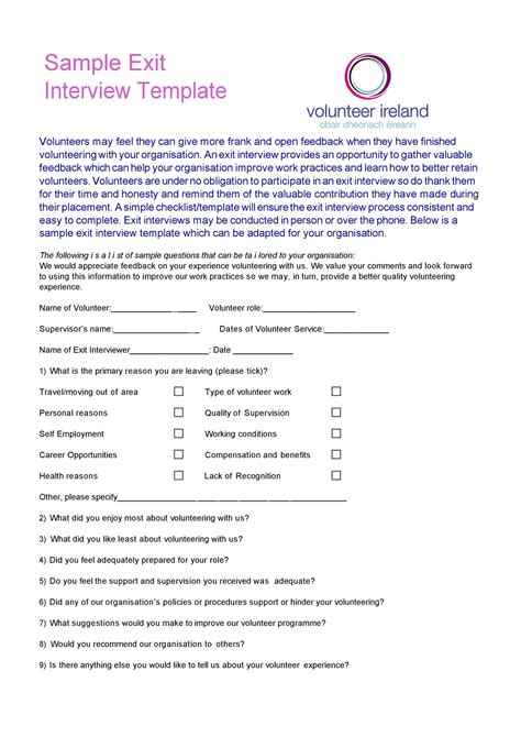 exit interview templates forms templatelab