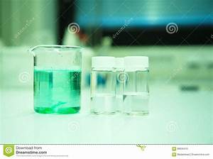 Green Solution In Beaker In Science Lab Stock Photo ...