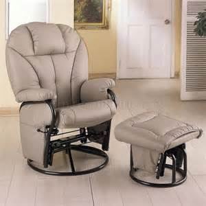 bone leatherette modern swivel glider chair w ottoman