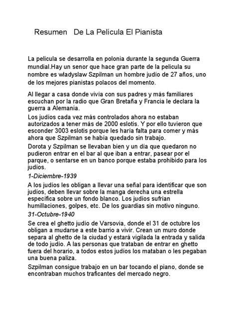 Les Choristes Resumen Pelicula by Resumen De La Pel 237 Cula El Pianista