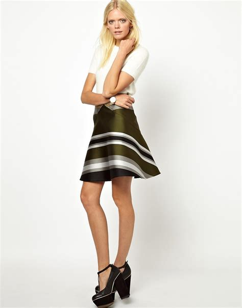 Ostwald Helgason | Ostwald Helgason Short Flared Skirt in Striped Bonded Silk at ASOS