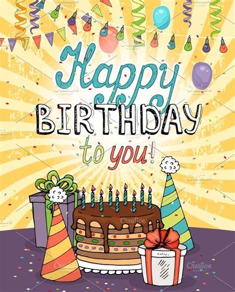 happy birthday greeting card pre designed illustrator