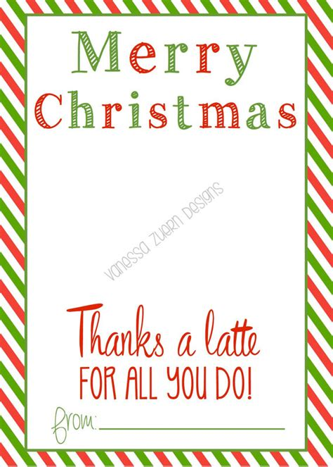 merry christmas thanks a latte printable holds a starbucks gift card the gift card
