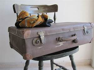 Antique old Vintage suitcase luggage 1930's brown travel