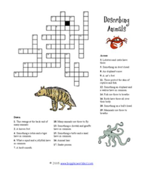 describing animals crossword puzzle 3rd 6th grade worksheet lesson planet
