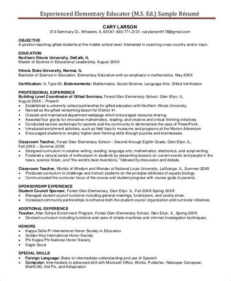elementary resume template 7 free word pdf
