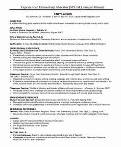 Elementary teacher resume template 7 free word pdf for Experienced teacher resume