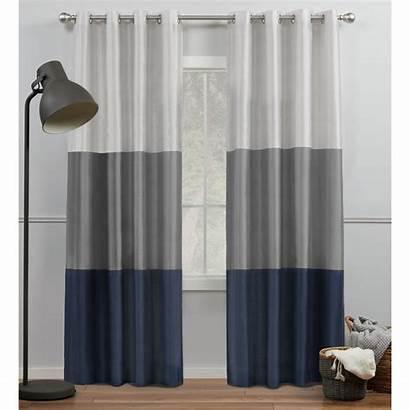 Curtains Grey Curtain Navy Grommet Silk Striped