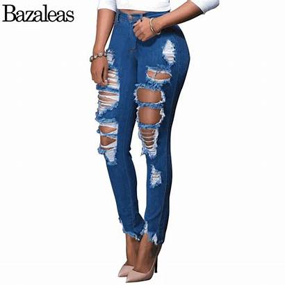 Ripped Jeans Womens Skinny Pants Thigh Cotton