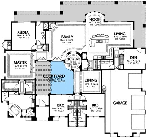 house plan with courtyard plan w16365md center courtyard views e architectural design