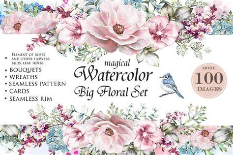 watercolor floral design set flower illustrations