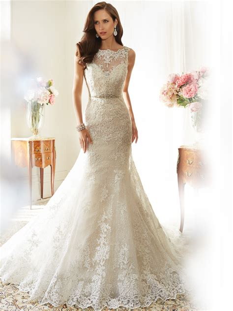 bridal gown designers fit and flare wedding dress with bateau neckline