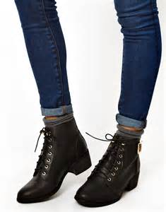 s lace up boots canada look look canada low block heel lace up ankle boots at asos