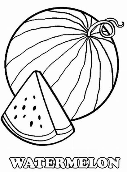 Watermelon Coloring Slice Fresh Fruits Vegetables
