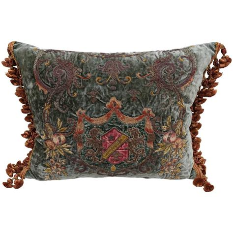pillows with fringe 19th century metallic and chenille embroidered pillow with fringe at 1stdibs