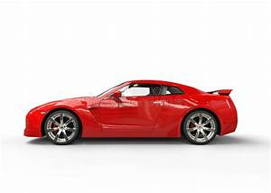 Red Sports Car On White Background - Side View Stock Photo ...