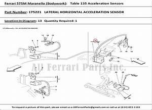 Ferrari Part Number 175221 Lateral Horizontal Acceleration Sensor