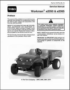 Toro Workman E2050  U0026 E2065 Utv Utility Vehicle Service