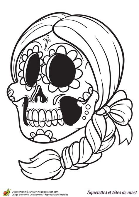 coloriage d une t 234 te de mort du mexique