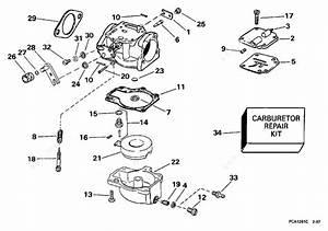 Evinrude 1998 50 - E50tlecr  Carburetor