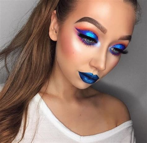 pin  michelle betshner  makeup colorful colorful makeup blue lips