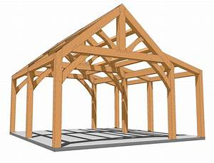 20x20 King Post with Shed Roof Plan - Timber Frame HQ