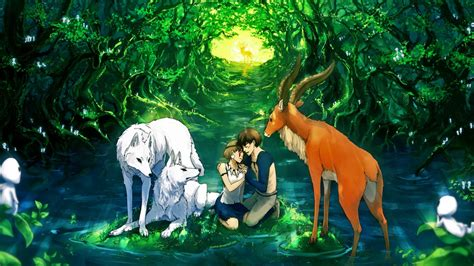Forest Anime Wallpaper - anime character beautiful animal forest deer