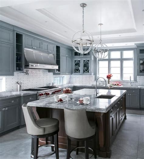 elegant gray  white kitchen  equipped  glass