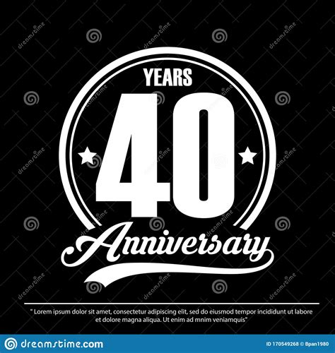 40th Years Anniversary Celebration Emblem Logo Label