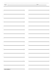 three column line ruled templates free printable lined paper with columns world of printables