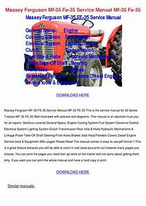 Massey Ferguson Mf 35 Fe 35 Service Manual Mf By Sherice Lasala