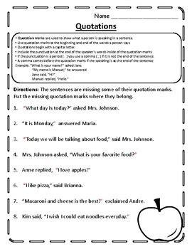 quotation mark worksheet quotation practice quotation