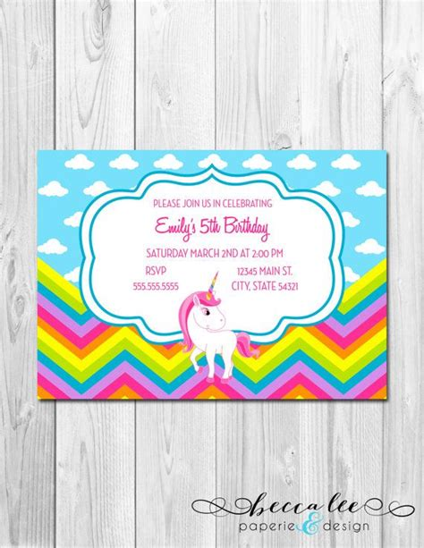 Unicorns & Rainbows Party Invitations