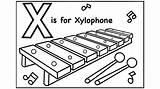 Xylophone Coloring Pages Alphabet Sheet Template Printable Drawing Sketch Templates sketch template